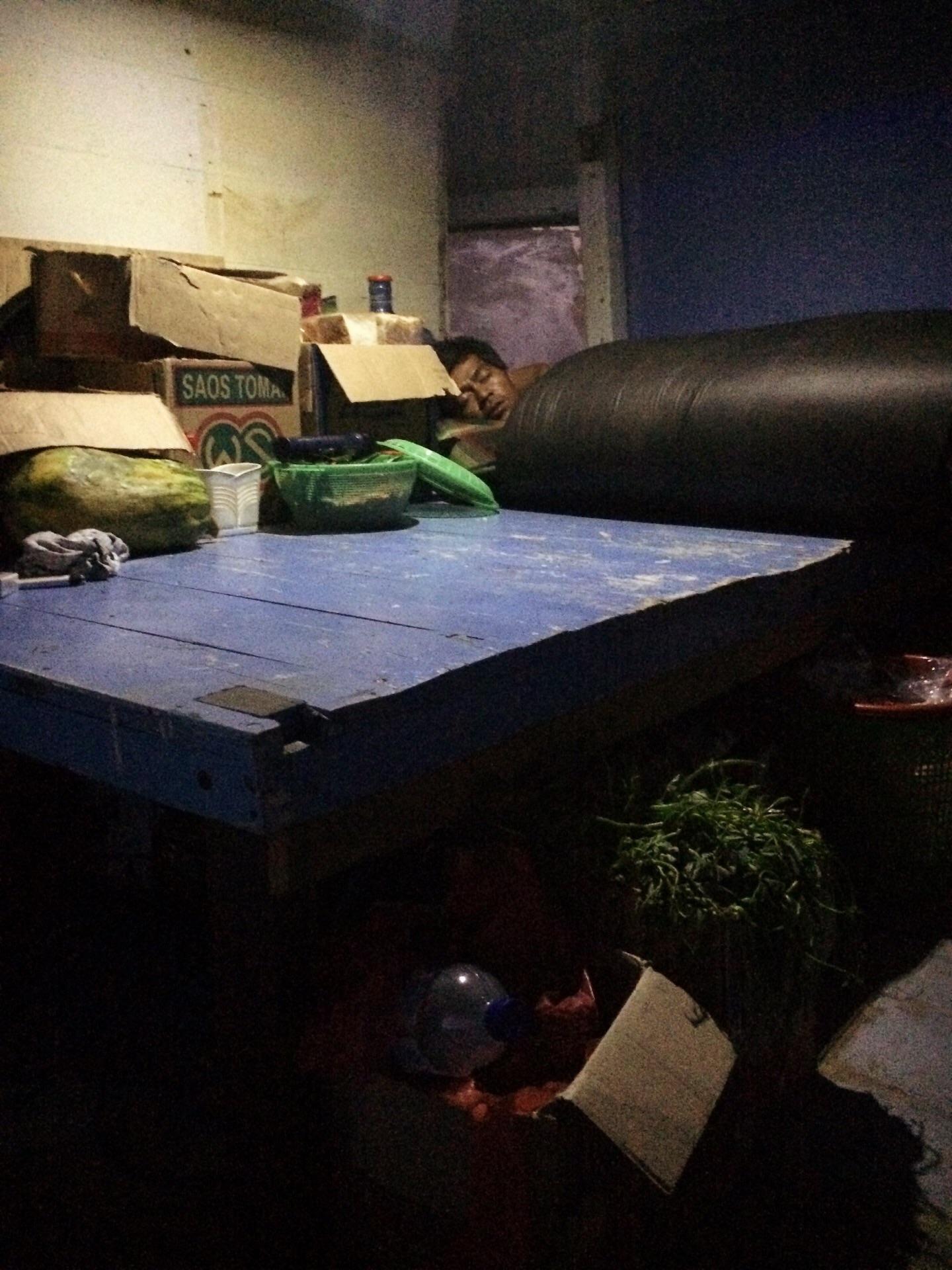 Tavolo della cucina e mozzo che dorme